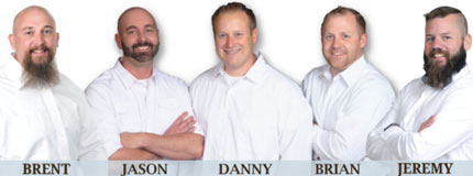 Home Inspectors Brent Stadther, Jason Harrington, Danny Hammock, Brian Bayley and Jeremy Darland